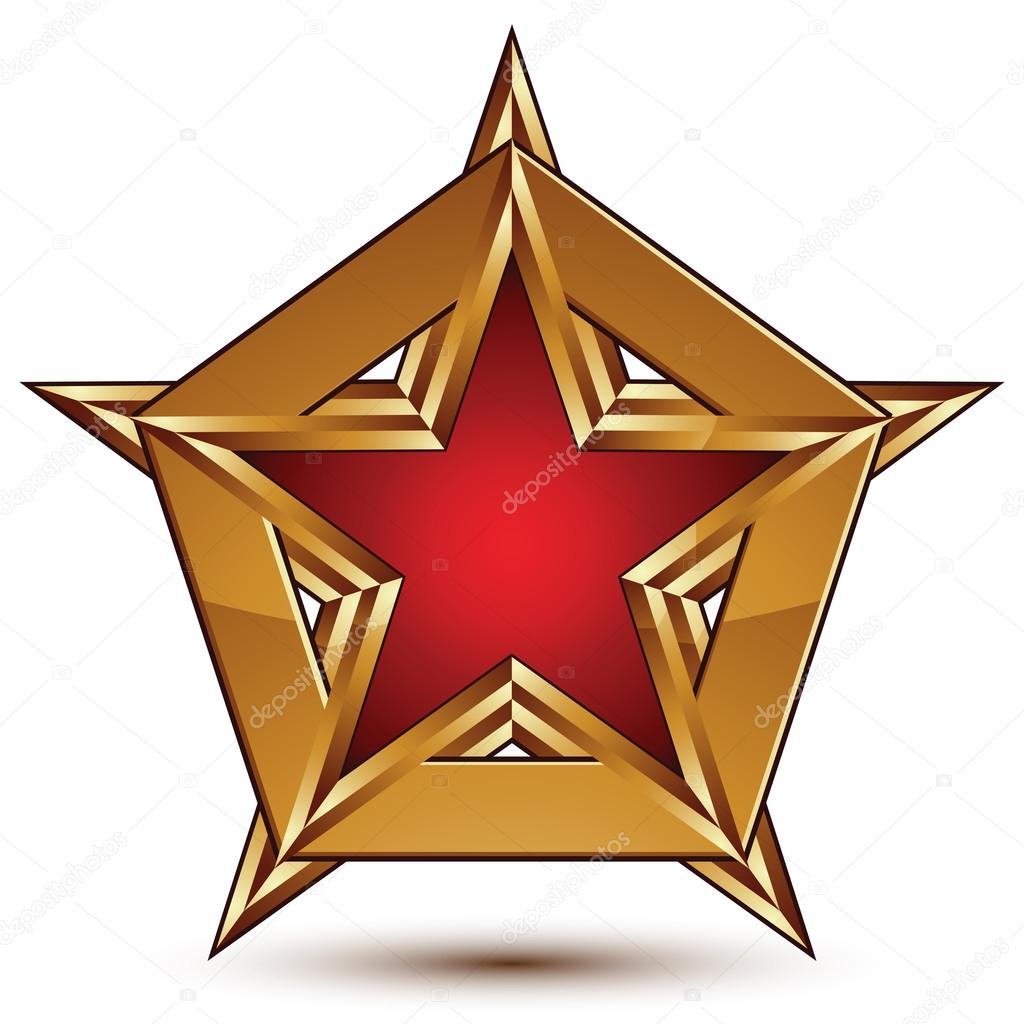 1024x1024 Glamorous Vector Template With Pentagonal Red Star With Golden O