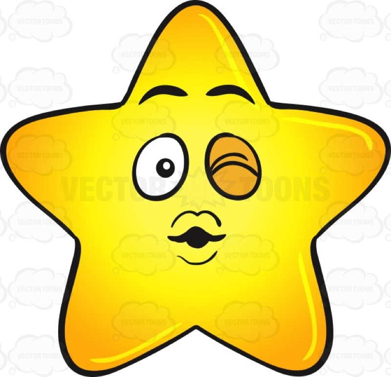 800x770 Single Gold Star Cartoon Blowing A Kiss And Winking Emoji