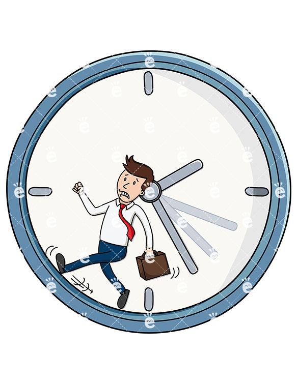 585x755 A Tense Businessman Running Inside Of A Giant Clock
