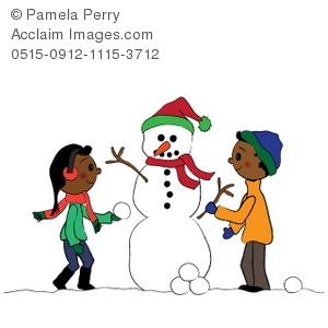 300x300 Clip Art Illustration Of Ethnic Children Building A Snowman