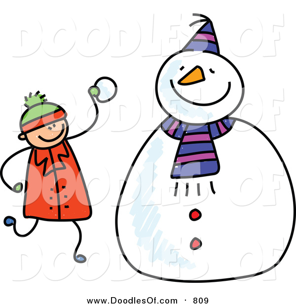 600x620 Vector Clipart Of A Doodled White Boy Making A Snowman By Prawny