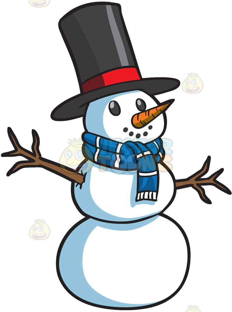 763x1024 A Smiling Snowman Black Top Hat, Snowman And Snowball