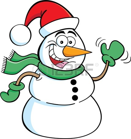 427x450 Cartoon Illustration Of A Snowman Waving Royalty Free Cliparts
