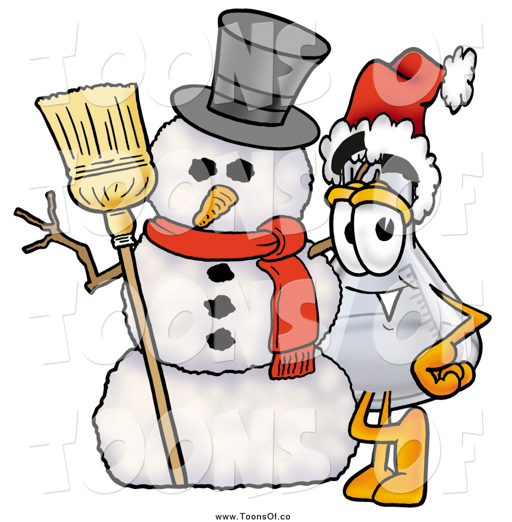1024x1044 Cartoon Of A Laboratory Flask Beaker Mascot With A Snowman