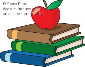 300x238 Art Illustration Of A Stack Of School Books With An Apple