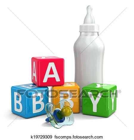450x470 Stock Illustration Of Pacifier, Milk In Bottle And Buzzword Blocks