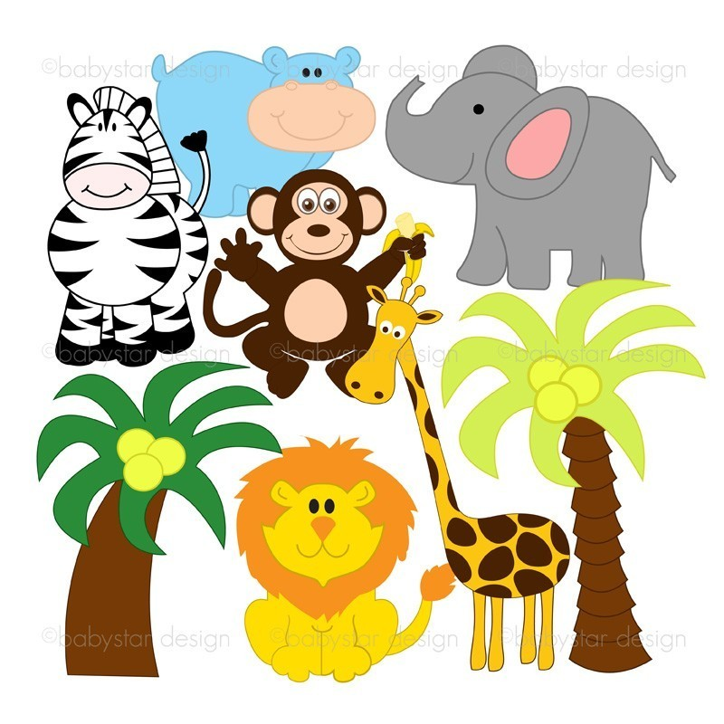 800x800 Baby Jungle Animals Clipart Clipart Panda