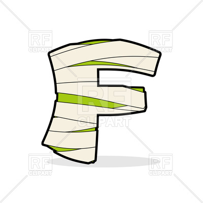 400x400 Green Letter F With Medical Bandage, Mummy Abc Royalty Free Vector