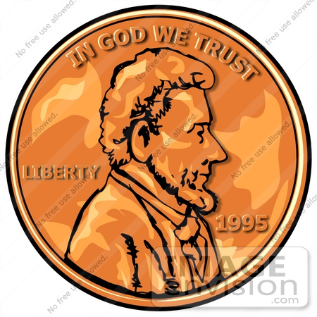 450x450 Abraham Lincoln On A Penny Clipart