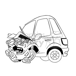 300x300 Royalty Free Cartoon Car Sick From Accident Black And White 394293