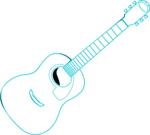600x540 Guitar Outline Blue Clip Art