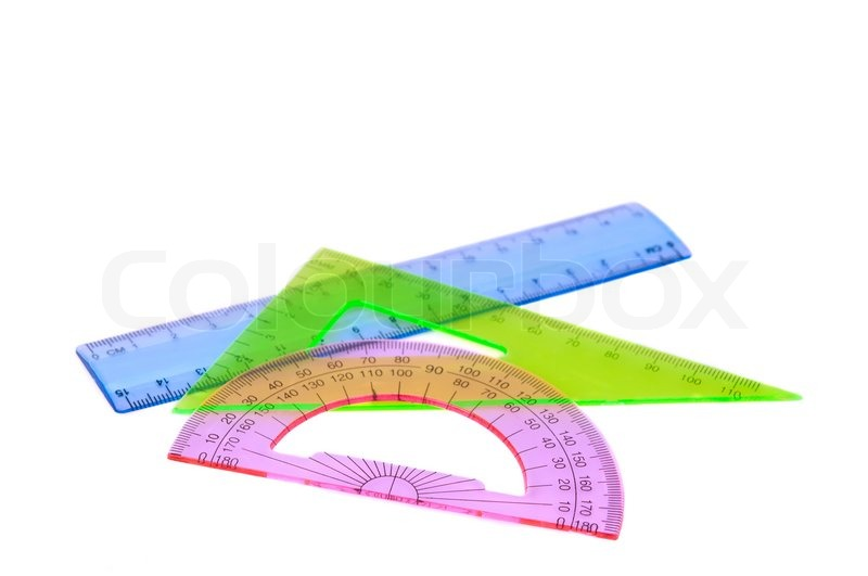 800x531 Ruler, Protractor, Triangle On A White Background Stock Photo