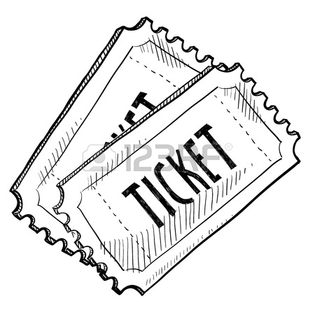 450x450 Doodle Style Concert Or Movie Ticket Illustration In Vector Format