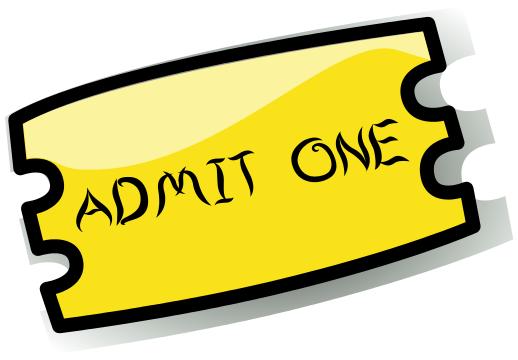 518x360 Ticket Admit One Yellow
