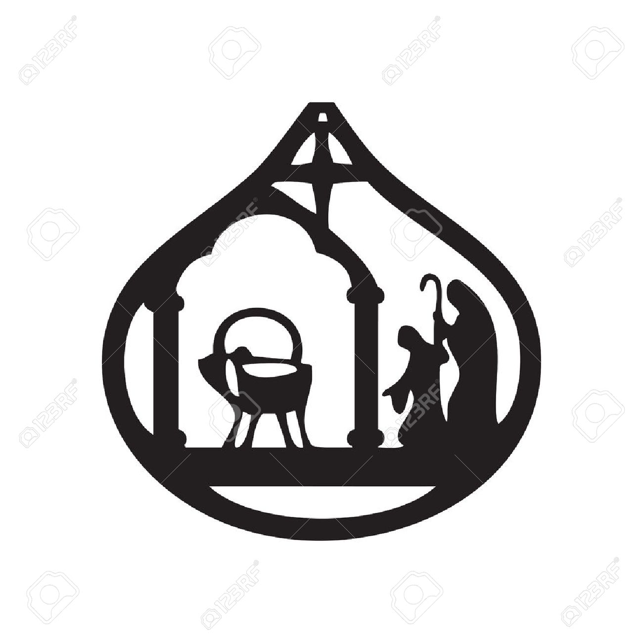 1300x1300 Adoration Of The Magi Silhouette Icon Illustration On Black
