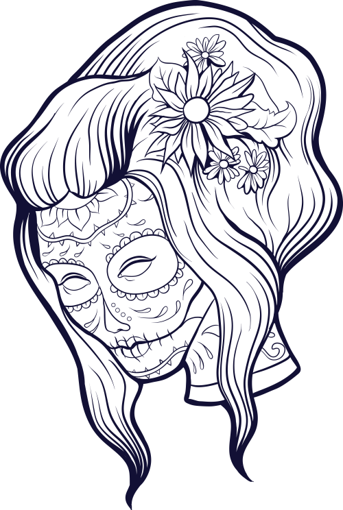 500x744 Sugar Skull Advanced Coloring 10