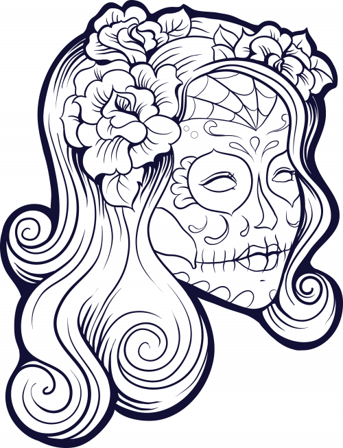 500x653 Sugar Skull Advanced Coloring 16 Dia De, Sugar Skulls And Students