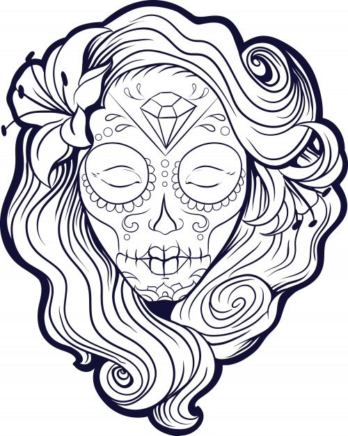 500x626 Sugar Skull Advanced Coloring 21 Sugar Skulls, Free Printable