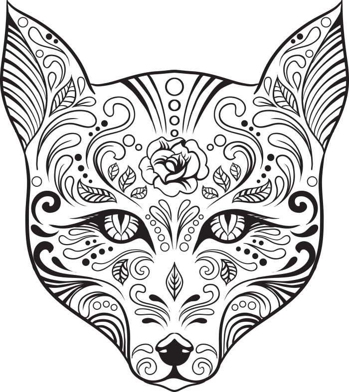 700x787 Sugar Skull Animal Coloring Pages