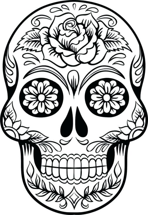 505x730 Sugar Skull Coloring Pages Pdf Skulls Free Showy Advanced Cat