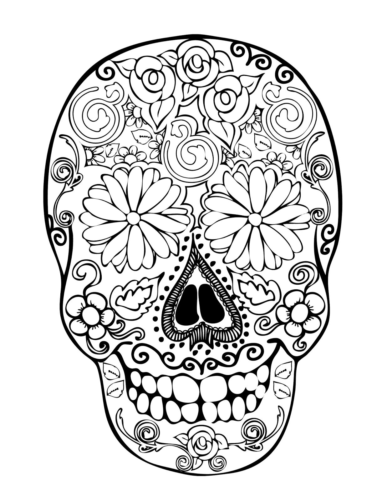 1237x1600 Sugar Skull Clipart Printable Coloring Page