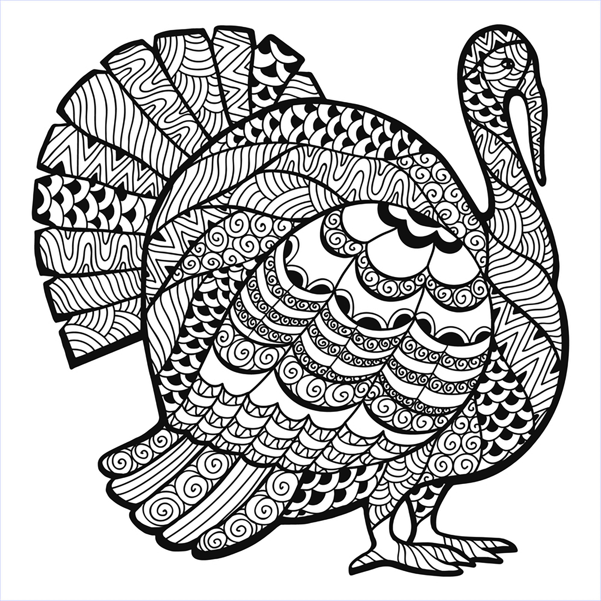 2000x2000 Thanksgiving Turkey Zentangle Coloring Page, From The Gallery