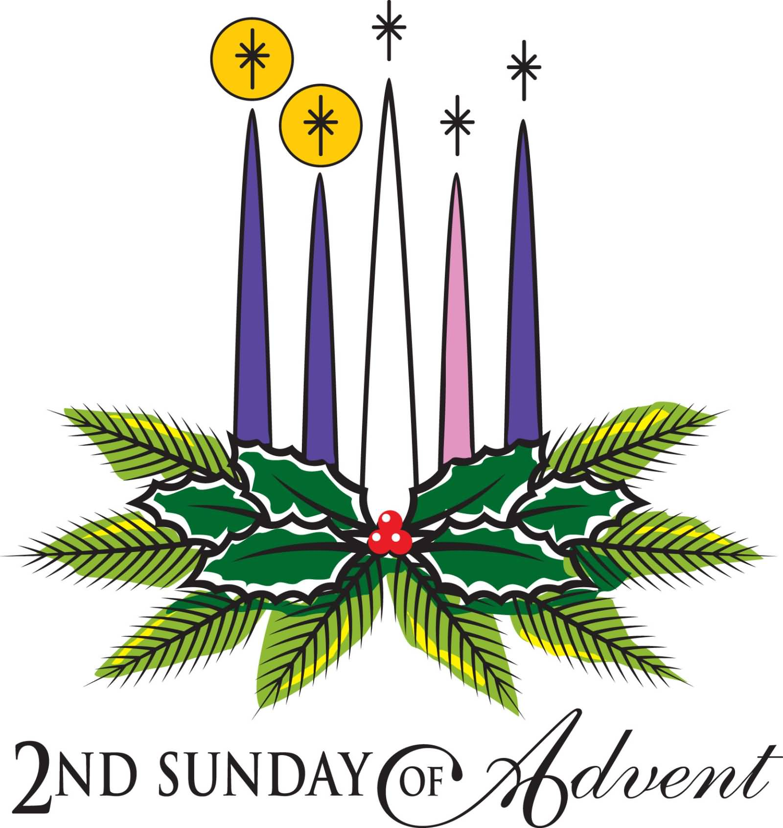 1600x1692 2nd Sunday Of Advent Candles And Palm Tree Leaves Clipart