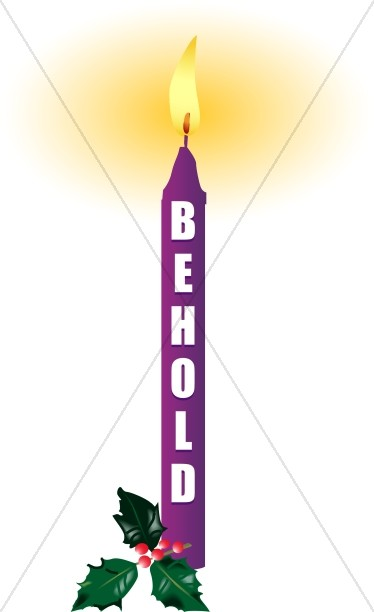 374x612 Rejoice Christian Word Art Candle Advent Clipart