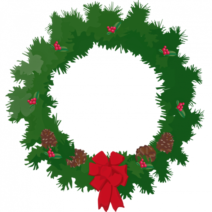 728x728 Christmas ~ Christmas Wreath Clip Artree Images Black And White