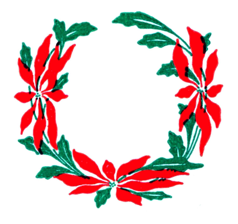 1500x1405 Poinsettia Wreath Clipart