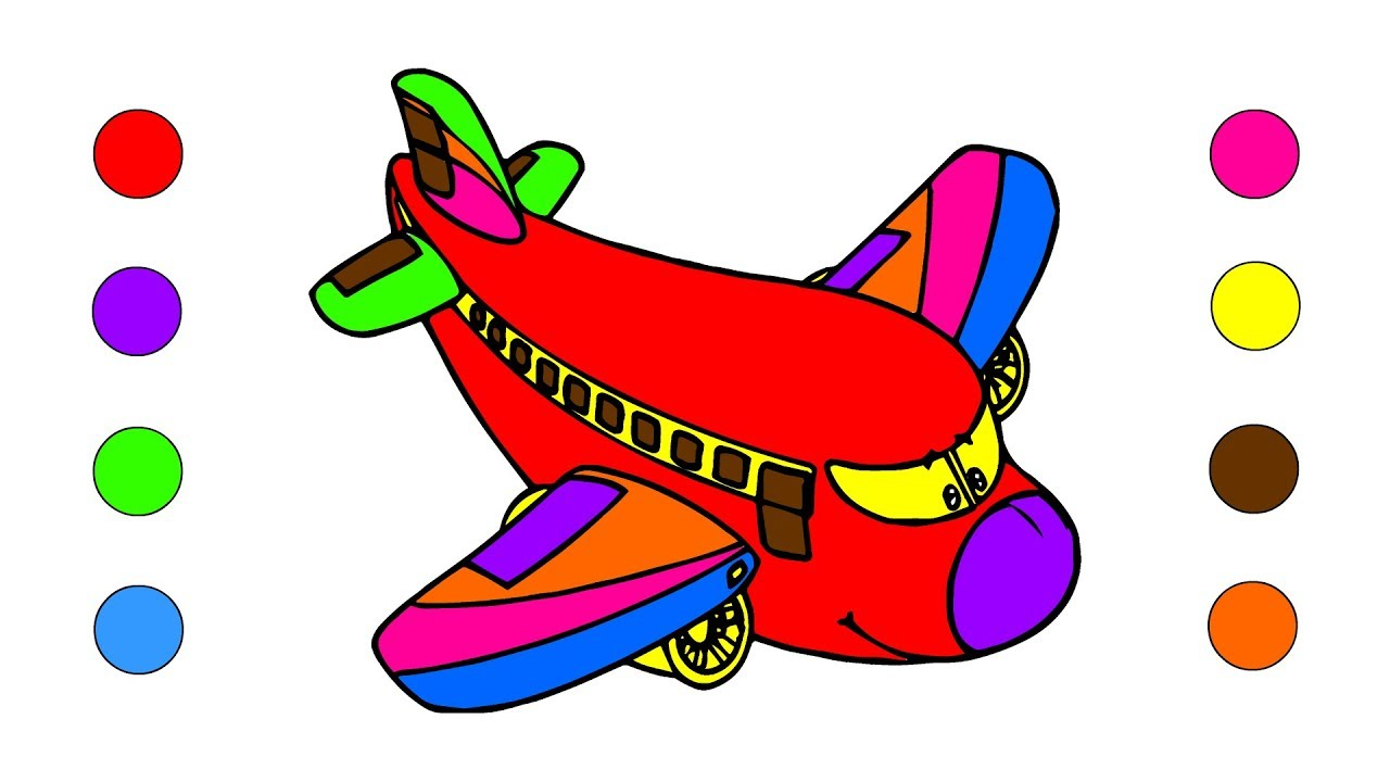 1280x720 Airplane Coloring Pages For Kids Children Toddlers How To Draw