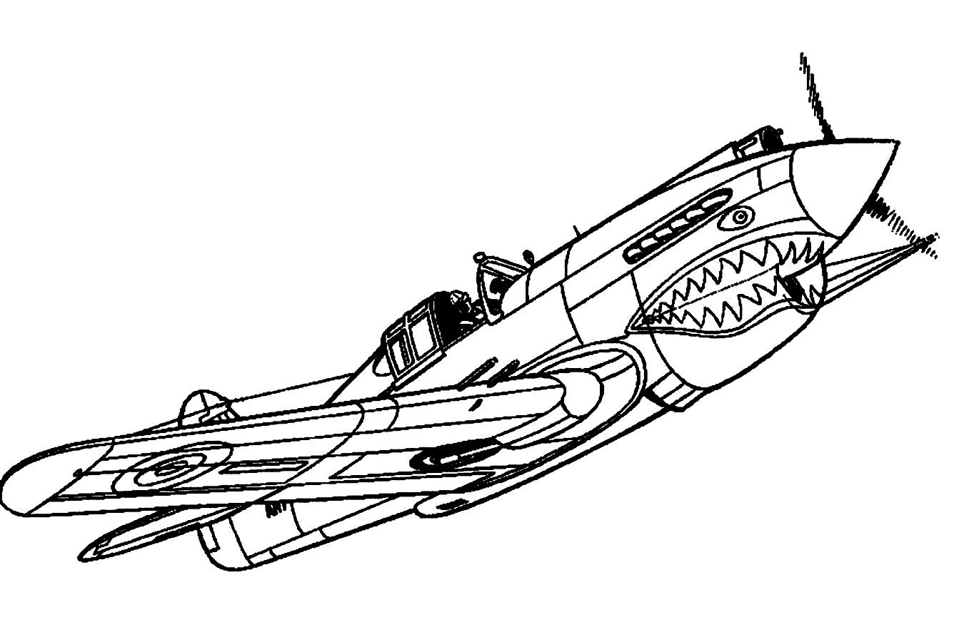 1336x900 Drawn Airplane Coloring Page