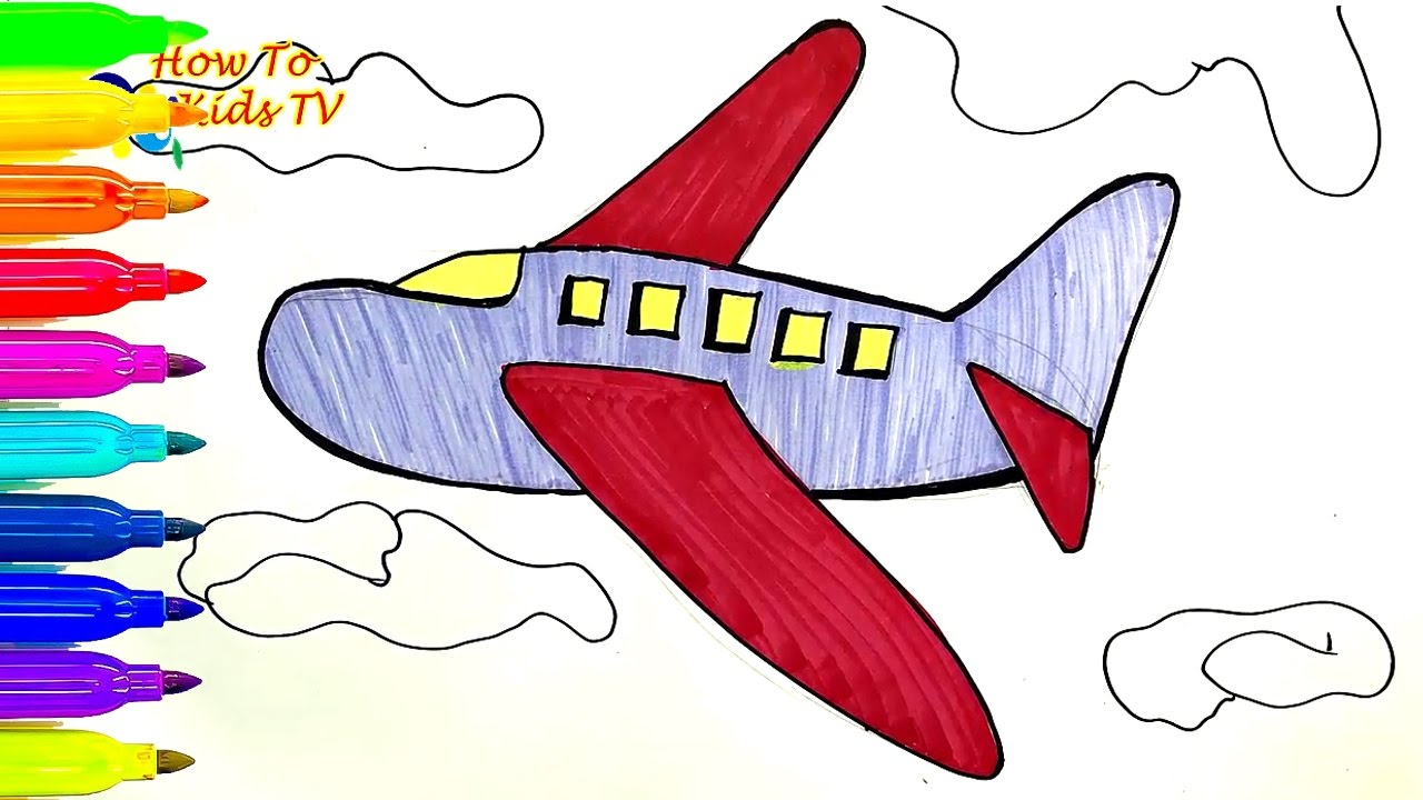 1280x720 How To Draw An Airplane Learning Coloring Book Drawing For Kids