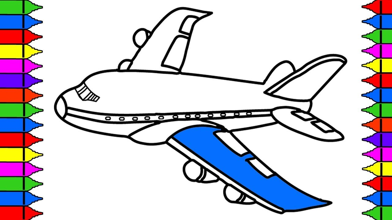 1280x720 How To Draw Airplane Coloring Pages Kids Learn Drawing Art