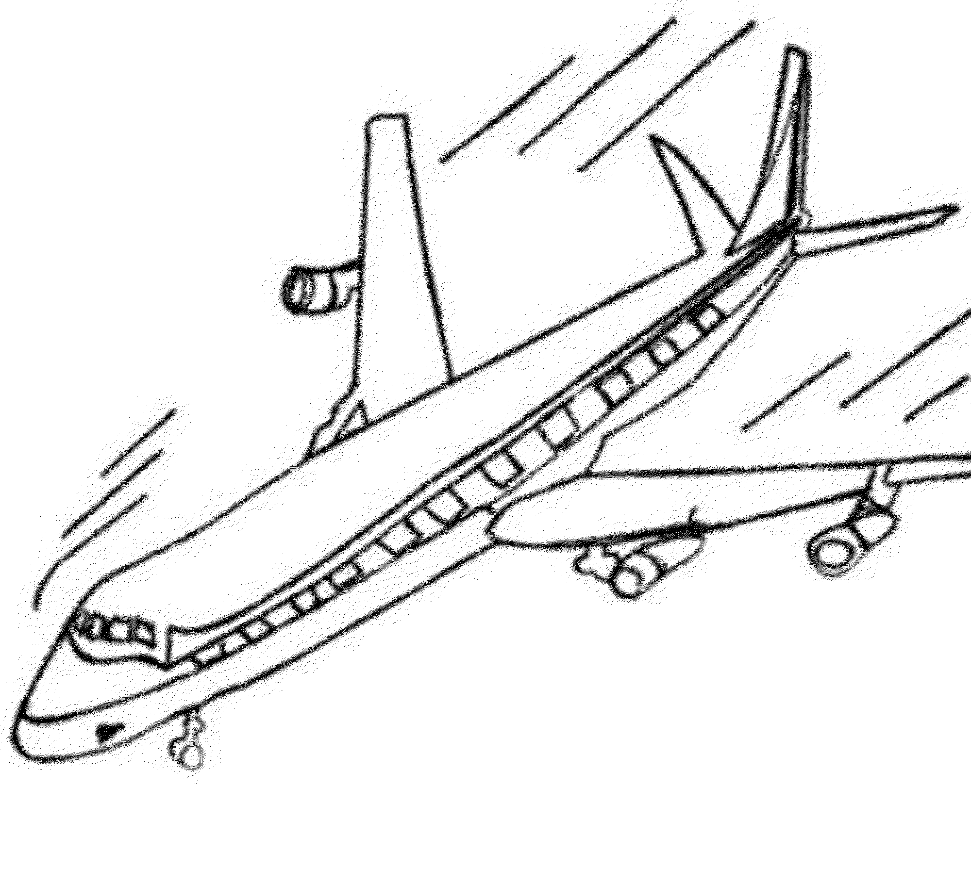 2000x1791 Airplane Coloring Page