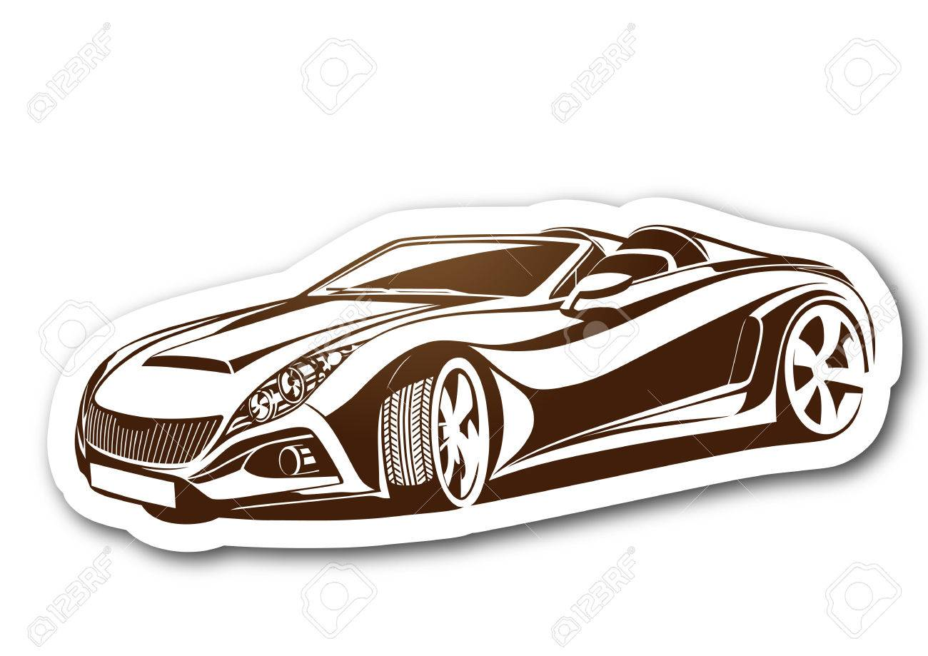 1300x919 Beauty And Brown Aesthetic Car Over Paper Royalty Free Cliparts
