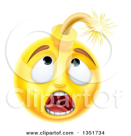 450x470 Clipart Of A 3d Scared Yellow Male Smiley Emoji Emoticon Face Bomb