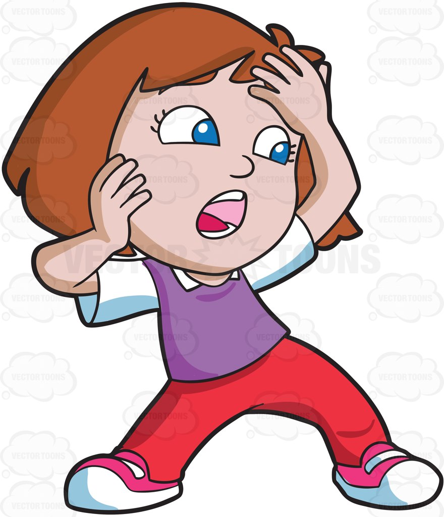 880x1024 A Girl Shouting In Shock And Terror Cartoon Clipart