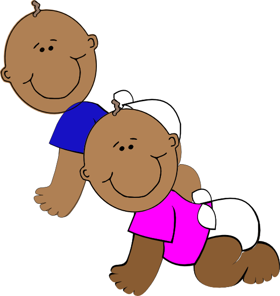 564x597 African American Twins Clip Art