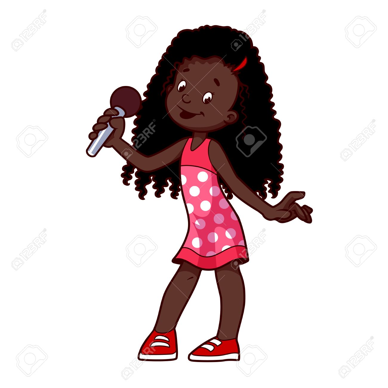 1300x1300 African American Girl Singing With Microphone. Clip Art