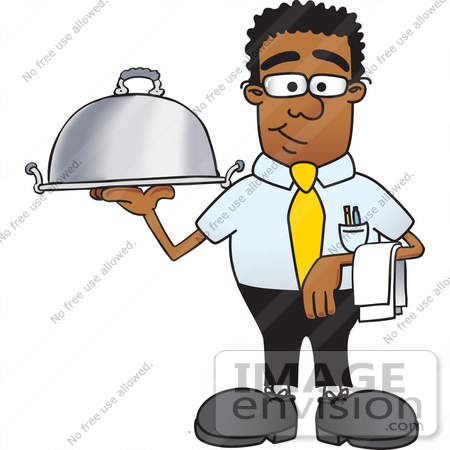 450x450 Clip Art Graphic Of A Geeky African American Businessman Cartoon