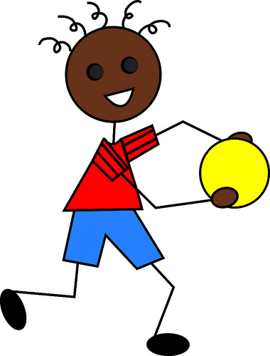 380x500 Clip Art Illustration Of A Cartoon African American Boy Playing