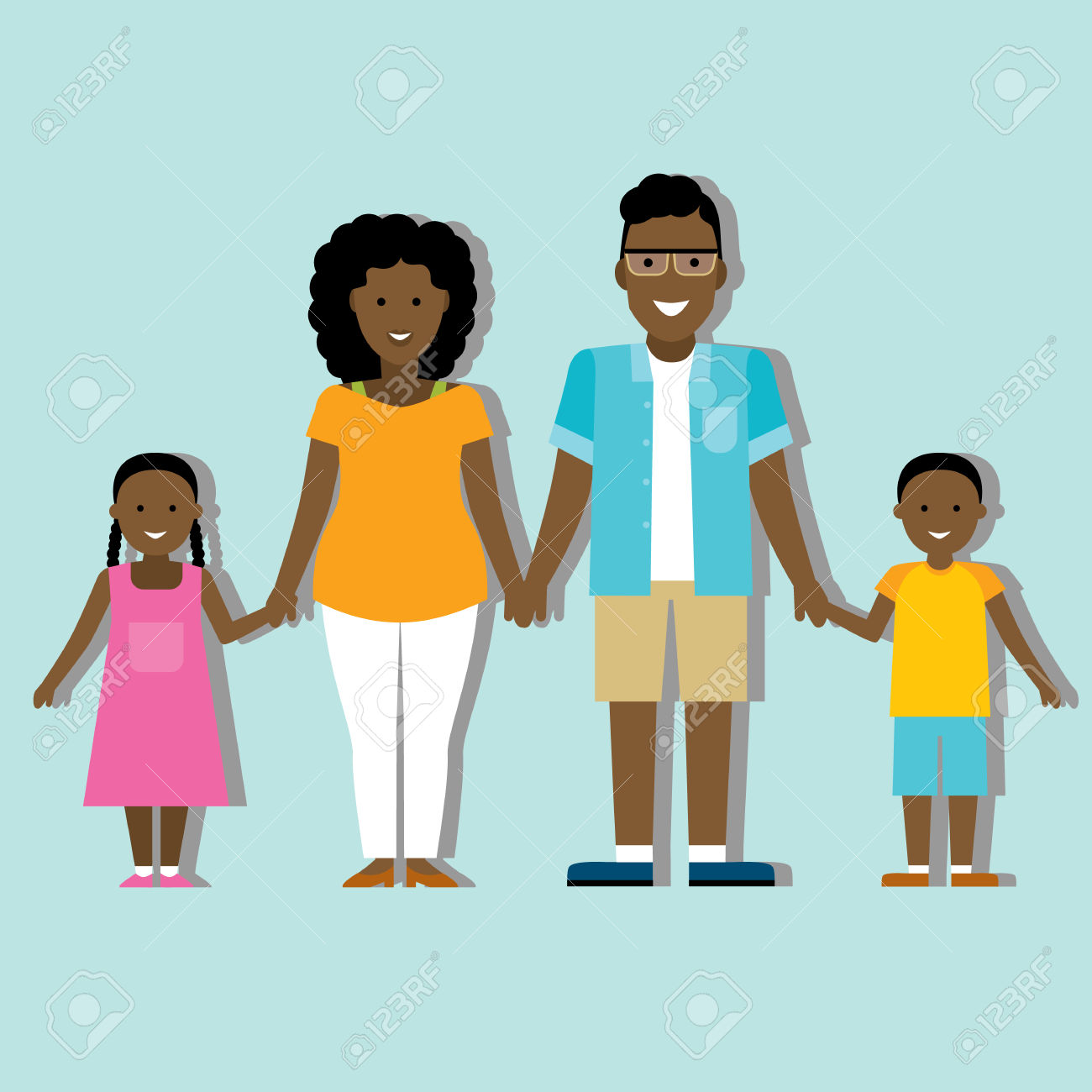 1300x1300 African Family Clipart