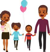 164x170 African American Family Clip Art