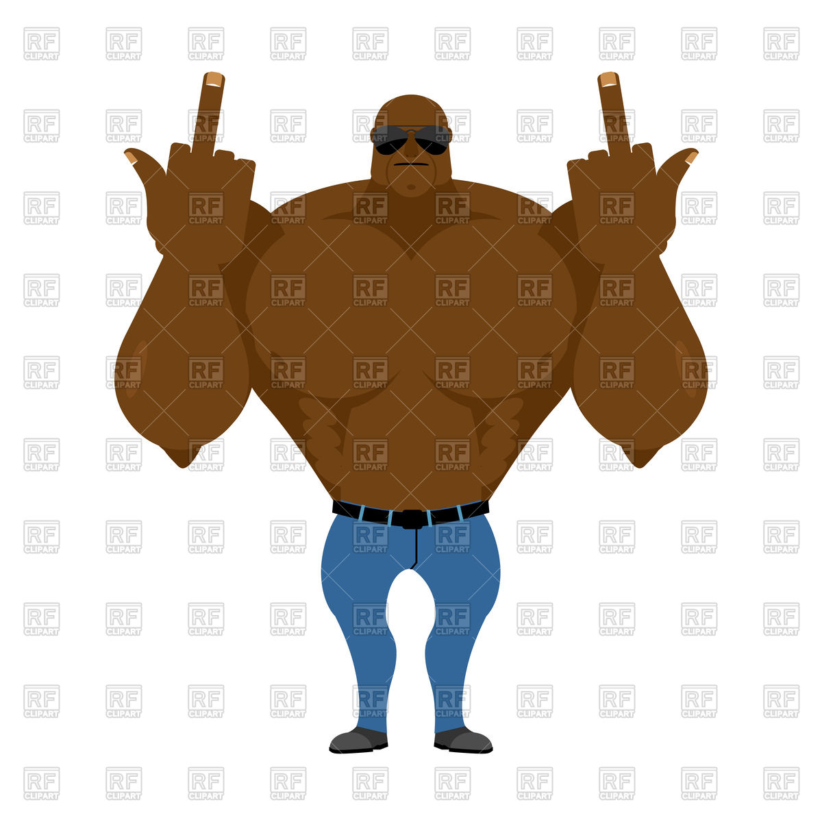 1200x1200 Big Strong African American Shows Fuck Royalty Free Vector Clip