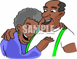 300x230 Cartoon Of An Elderly Ethnic Couple Embracing