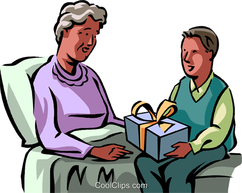 480x382 Grandson Giving His Grandmother A Gift Royalty Free Vector Clip