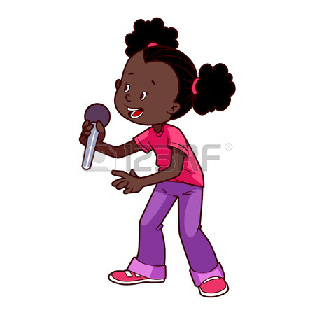 450x450 Cartoon African American Girl Singing With A Microphone. Vector