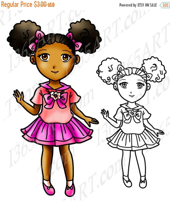 570x685 50% Off African American Girl Clipart Black Girl Afro Puffs