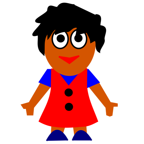 500x500 Vector Clip Art Of Happy Afro American Girl In Red Dress Public